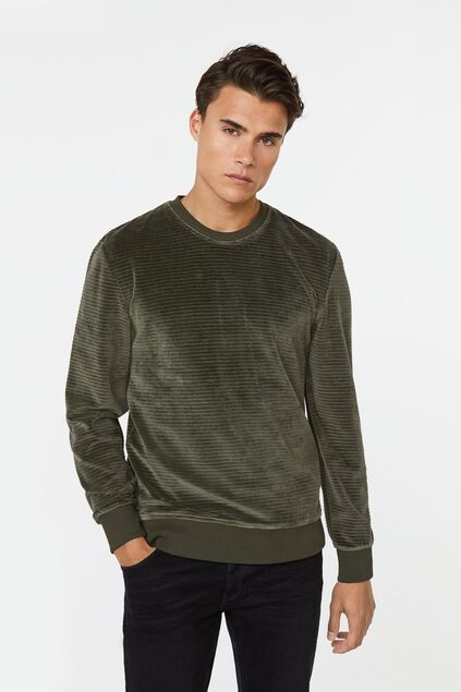 Heren geribde sweater Legergroen