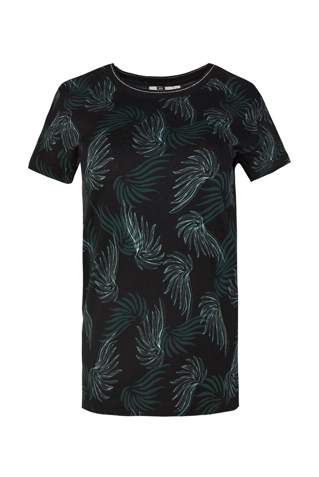 Dames T-shirt met bladerendessin All-over print